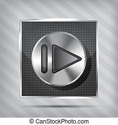 metallic knob with forward icon