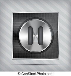 metallic knob with pause icon on the striped background