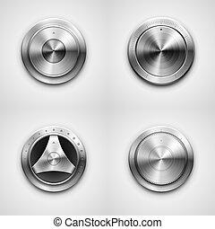 High detailed vector illustration of metallic knobs.