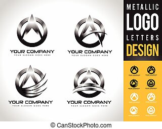 Metallic Letter A Logo Designs. Creative abstract vector...