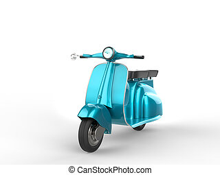 Metallic light blue scooter - front view