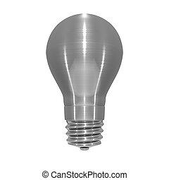 Metallic light bulb object on white background