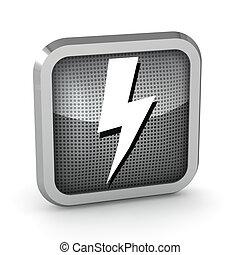 metallic lightning icon on a white background