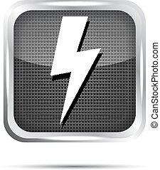 metallic lightning icon on a white