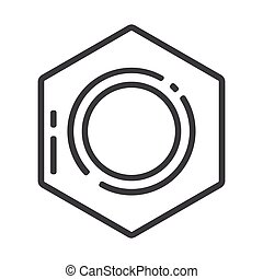 metallic line nut isolated on a white background. Steel fastening element