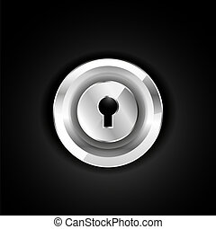 Metallic lock icon on black. Vector EPS10 illustration