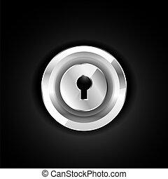 Metallic lock icon on black. Vector EPS10 illustration