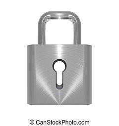 Metallic locked padlock object on white background