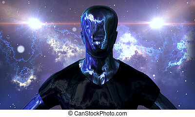Metallic man is standing in the open space - A sci-fi 3d ...