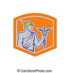 Metallic Mercury Holding Caduceus Staff Shield Retro -...