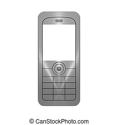 Metallic mobile phone object on white background