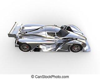 Metallic modern super sports car - top down side view