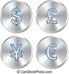 Metallic money buttons template set.
