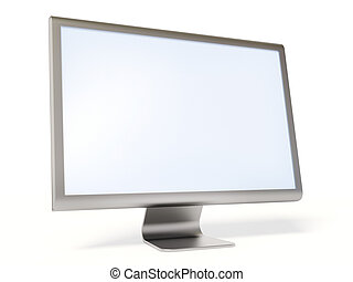 monitor - metallic monitor on white background