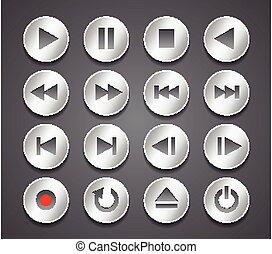 Metallic multimedia control buttons