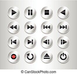 Metallic multimedia control icon set