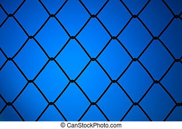 metallic net with blue background