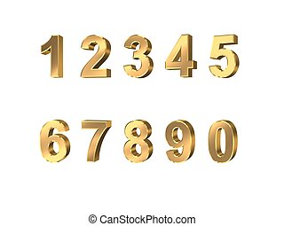 metallic numbers on white background.