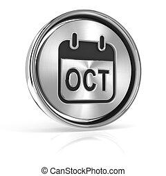 Metallic October calendar icon