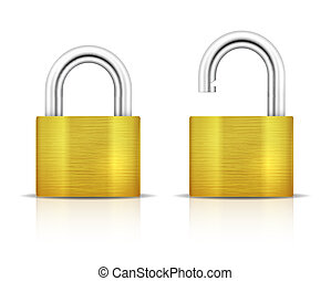 Metallic Padlock. Locked and unlocked Padlocks isolated on white background. Vector illustration