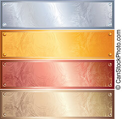 Metallic Panels - Various vector metallic plates with rivets...