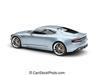 Metallic pastel blue modern sports luxury car - side view