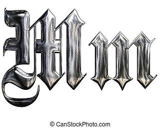 Metallic patterned letter of german gothic alphabet font....