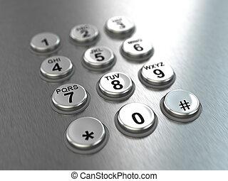 Metallic pay phone keypad.