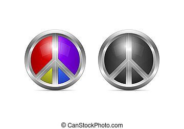 Metallic Peace Symbol Design as 3D Shaped