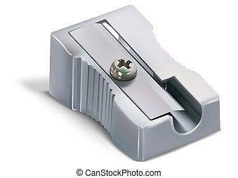 Metallic Pencil Sharpener - Pencil Sharpener Isolated on...