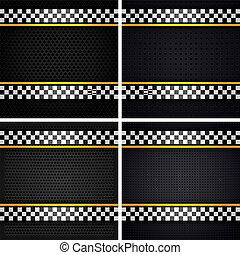 Set metallic perforated sheets, vector illustration 10eps
