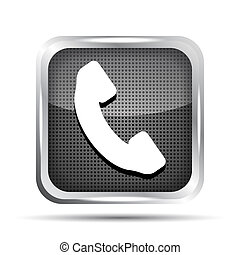 metallic phone button icon on a white background