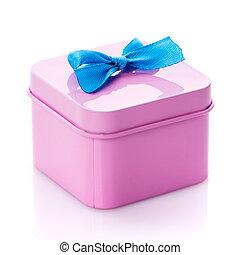 Metallic pink box with blue satin bow close up.
