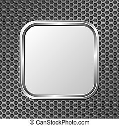 metallic plaque on metal grate