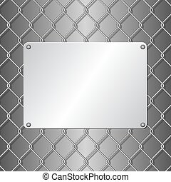 plaque - metallic plaque on wire mesh background