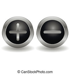 Metallic plus and minus buttons