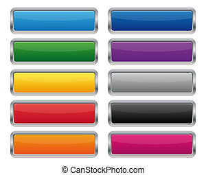 Metallic rectangular buttons in various colors
