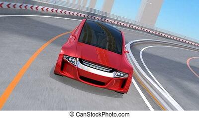 Metallic red autonomous car driving on highway