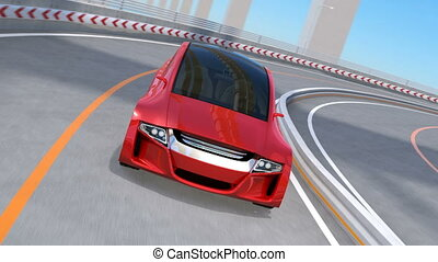 Metallic red autonomous car driving on highway