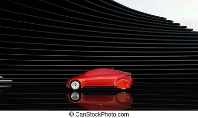 Metallic red autonomous car