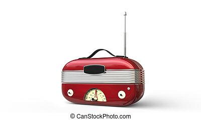 Metallic red cool vintage radio - studio shot