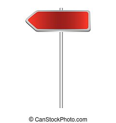 metallic red direction board road signs
