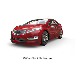 Metallic red electric modern car - front view