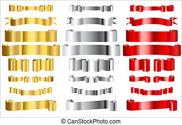 Metallic gold silver and red ribbon vectors