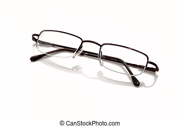 Metallic-rimmed eyeglasses. Isolated