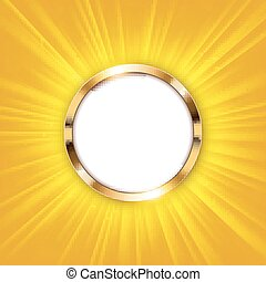 Metallic ring with text space and gold light illuminated Vector Illustration