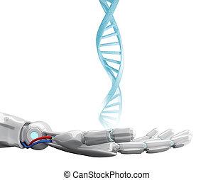 Metallic robotic hand touches dna chain. 3d rendering