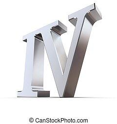 metallic roman numeral IV - shiny number four