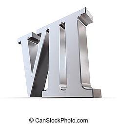metallic roman numeral VII - shiny number seven