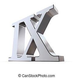 metallic roman numeral IX - shiny number nine
